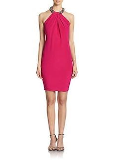 Carmen Marc Valvo Embellished Halter Dress