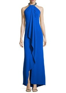 Carmen Marc Valvo Embellished-Neck Draped Gown, Royal Blue