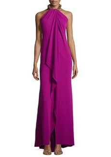 Carmen Marc Valvo Embellished-Neck Draped Gown, Violet/Burnished Gold