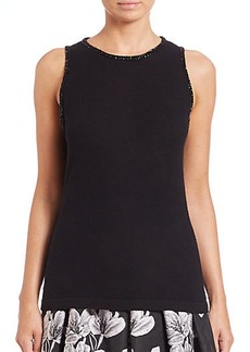 Carmen Marc Valvo Embellished Wool Sleeveless Sweater