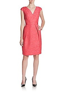 Carmen Marc Valvo Embroidered Bow Sheath Dress