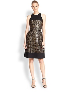 Carmen Marc Valvo Embroidered Metallic Cocktail Dress