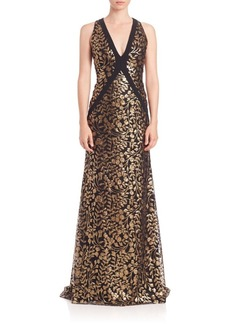 Carmen Marc Valvo Embroidered V-Neck Gown