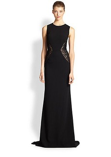 Carmen Marc Valvo Embroidery-Insert Crepe Gown