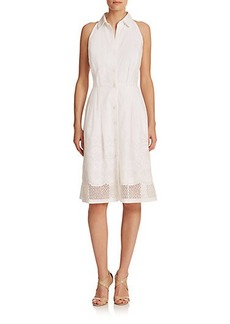 Carmen Marc Valvo Eyelet Shirtdress