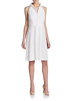 Carmen Marc Valvo Eyelet Sleeveless Shirtdress