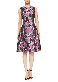Carmen Marc Valvo Flared Floral Cocktail Dress