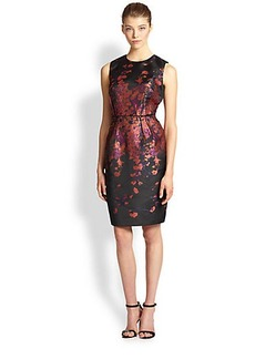Carmen Marc Valvo Floral Brocade Dress