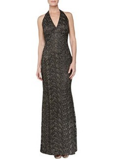 Carmen Marc Valvo Floral Brocade Halter Gown, Burnished Gold