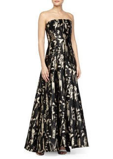 Carmen Marc Valvo Floral-Brocade Mesh-Inset Strapless Gown
