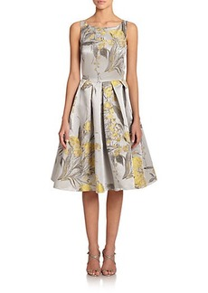 Carmen Marc Valvo Floral Brocade Party Dress