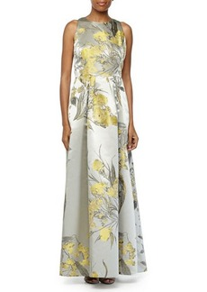 Carmen Marc Valvo Floral Brocade Sleeveless Gown