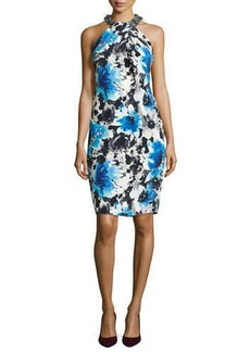 Carmen Marc Valvo Floral Cocktail Dress with Beaded Halter  Floral Cocktail Dress with Beaded Halter