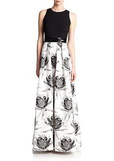 Carmen Marc Valvo Floral Contrast Gown