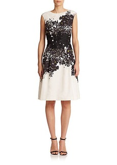 Carmen Marc Valvo Floral-Detail Faille Dress