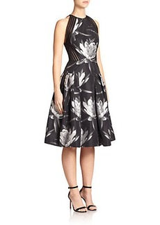 Carmen Marc Valvo Floral Halter Cocktail Dress