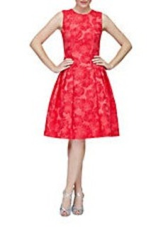 CARMEN MARC VALVO Floral Jacquard Pleated A-Line Dress