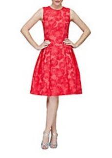 CARMEN MARC VALVO Floral Jacquard Pleated A-Line Dress
