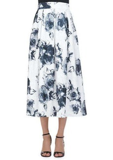 Carmen Marc Valvo Floral Jacquard Pleated Midi Party Skirt