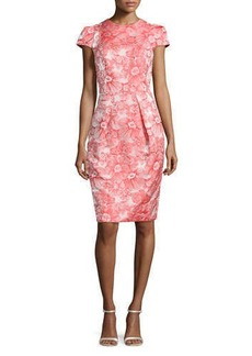 Carmen Marc Valvo Floral Jacquard Sheath Dress, Coral