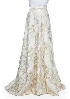 Carmen Marc Valvo Floral Jacquard Skirt with Metallic Highlights