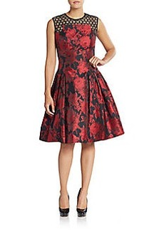 Carmen Marc Valvo Floral Mesh-Yoke A-Line Dress