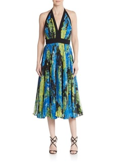 Carmen Marc Valvo Floral Pleated Halter Dress