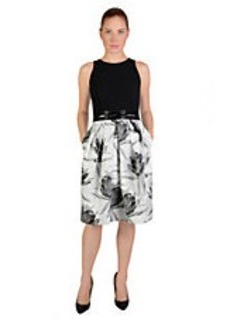 CARMEN MARC VALVO Floral Print A-Line Dress