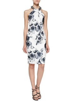 Carmen Marc Valvo Floral-Print Beaded-Neck Cocktail Dress