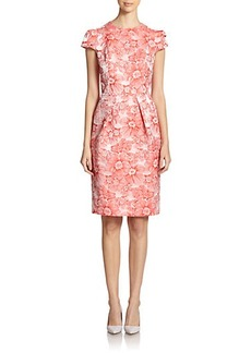 Carmen Marc Valvo Floral-Print Brocade Cocktail Dress