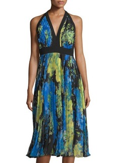 Carmen Marc Valvo Floral-Print Halter Dress