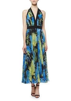 Carmen Marc Valvo Floral-Print Halter Gown