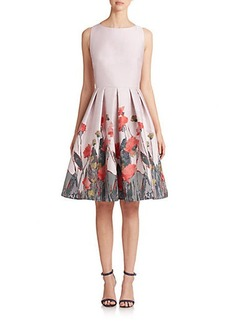 Carmen Marc Valvo Floral-Print Pleated Cocktail Dress