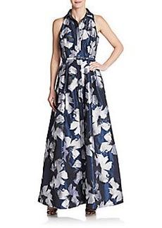 Carmen Marc Valvo Floral-Print Satin Gown