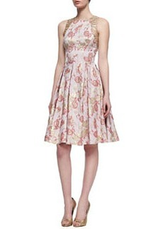 Carmen Marc Valvo Floral-Print Sleeveless Golden Jacquard Dress, Rose Gold