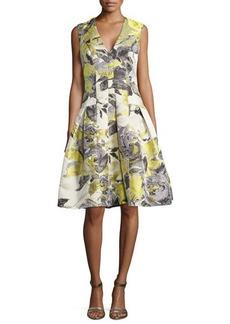 Carmen Marc Valvo Floral-Print Sleeveless Party Dress