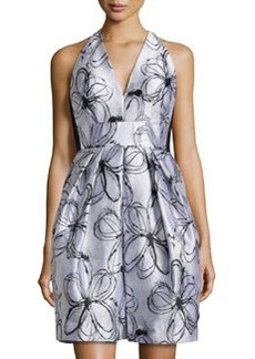 Carmen Marc Valvo Floral-Print V-Neck Cocktail Dress, Ivory/Black