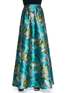 Carmen Marc Valvo Floral Printed Charmeuse Ball Skirt