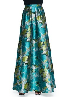 Carmen Marc Valvo Floral Printed Charmeuse Ball Skirt  Floral Printed Charmeuse Ball Skirt