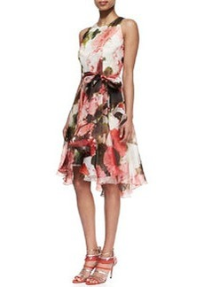 Carmen Marc Valvo Floral Silk Sleeveless Cocktail Dress