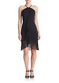 CARMEN MARC VALVO Fringed Halter Dress
