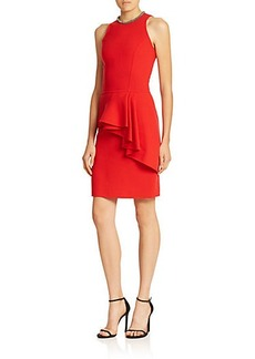 Carmen Marc Valvo Front-Peplum Cocktail Dress