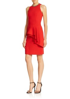 Carmen Marc Valvo Front-Peplum Cocktail Dress