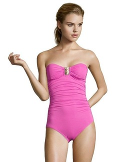 Carmen Marc Valvo fuchsia stretch 'Malawi Kingdom' strapless bandeau buckle detail one piece