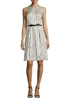 Carmen Marc Valvo Geo-Jacquard Sleeveless Dress  Geo-Jacquard Sleeveless Dress