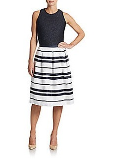 Carmen Marc Valvo Glitter Striped Dress