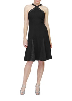 CARMEN MARC VALVO Godet-Pleated A-Line Dress