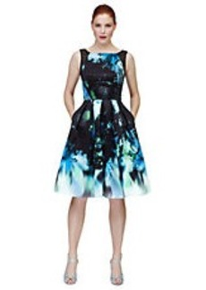 CARMEN MARC VALVO Graphic Print Fit and Flare Dress