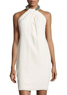 Carmen Marc Valvo Halter Beaded-Neck Cocktail Dress, Ivory