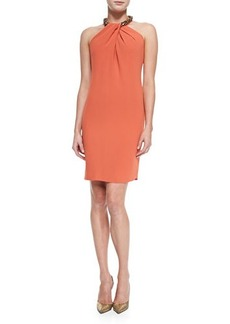 Carmen Marc Valvo Halter Beaded-Neck Cocktail Dress, Orange